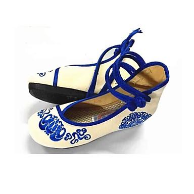 Dámské Bez podpatku Pohodlné vyšívané boty Látka Jaro Podzim Podium Šaty Jdeme ven Pohodlné vyšívané boty Přezky Krajka Klín Červená Modrá