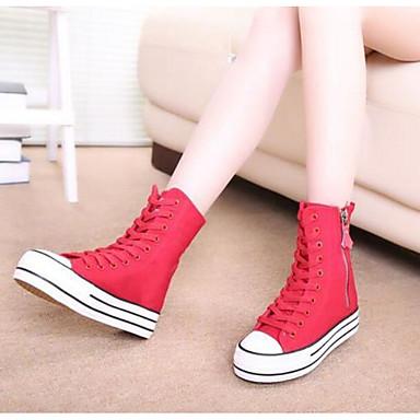 Naiset Kengät Canvas Kevät Comfort Tasapohjakengät Käyttötarkoitus Kausaliteetti Musta Punainen Sininen