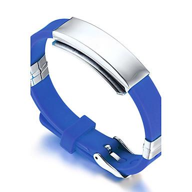 voordelige Herensieraden-Heren ID-armband Vriendschap Rock Modieus Hip-hop Movie Jewelry Siliconen Armband sieraden Wit / Rood / Blauw Voor Kerstcadeaus Verjaardag Lahja Sport / Titanium Staal