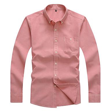Herren Solide Einfach Lässig/Alltäglich Arbeit Hemd,Hemdkragen Alle Saisons Frühling Langarm Baumwolle Polyester Mittel