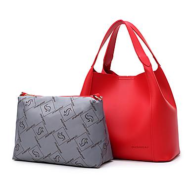 Damen Taschen PU 2 Stück Geldbörse Set für Normal Herbst Ganzjährig Schwarz Rote Rosa