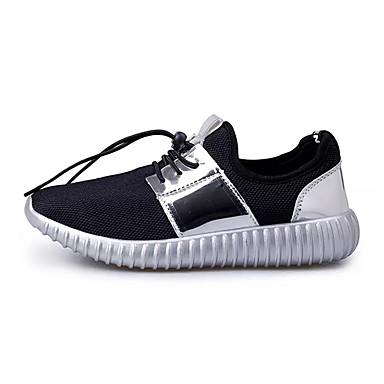 Homens sapatos Tule Primavera / Outono Conforto Tênis Caminhada Dourado / Preto / Prata