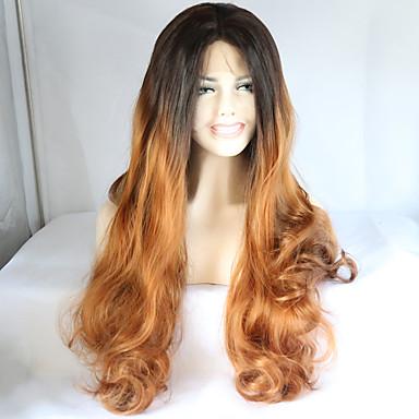 Synthetische Lace Front Perücken Wellen Gefärbte Haarspitzen (Ombré Hair) Braun Damen Spitzenfront Natürliche Perücke Medium Lang