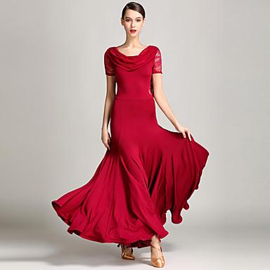 Ballroom Dance Dresses Women's Performance Lace / Tulle / Milk Fiber Pendant Short Sleeves Natural Dress