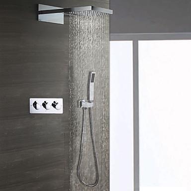 Moderne Wandmontage Regendusche Handdusche inklusive Keramisches Ventil Drei Griffe Drei Löcher Duscharmaturen
