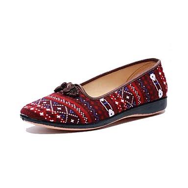 Mulheres Sapatos Tecido Primavera Outono Conforto Mocassins e Slip-Ons Sem Salto Ponta Redonda Presilha para Casual Vermelho Azul