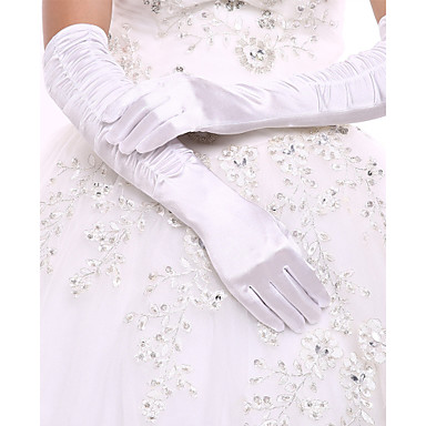 Elastic Satin / Spandex Fabric Opera Length Glove Bridal Gloves / Party / Evening Gloves With Ruffles