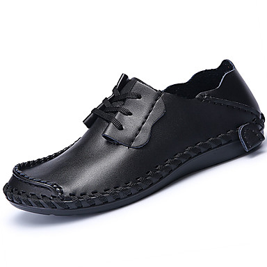 Homens sapatos Couro Ecológico Primavera Verão Conforto Tênis Caminhada para Casual Preto Castanho Escuro Khaki