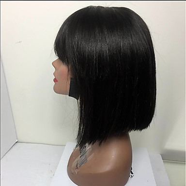 Cabello Natural Remy Vollspitze Perücke Bob Bubikopf Stil Brasilianisches Haar Glatt Perücke 130% Haardichte mit Babyhaar Natürlicher Haaransatz Afro-amerikanische Perücke 100 % von Hand geknüpft