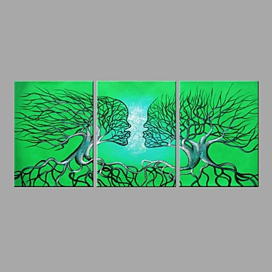 Handgemalte Abstrakt Horizontal Panorama, Abstrakt Segeltuch Hang-Ölgemälde Haus Dekoration Drei Paneele