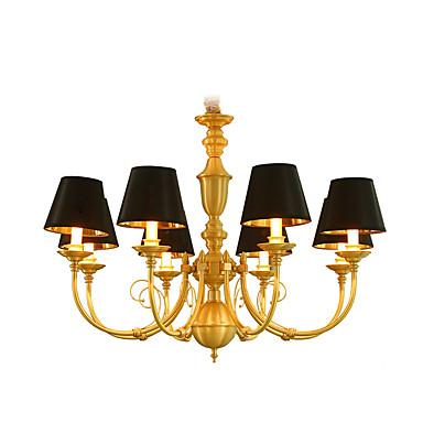 8-luz Estilo de vela Lustres Luz Superior Latão Metal Estilo Mini, LED 110-120V / 220-240V Lâmpada Incluída / E12 / E14