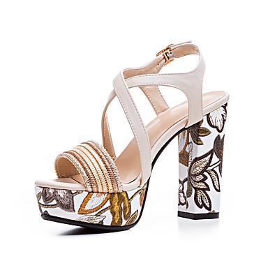 Damen Schuhe Echtes Leder Herbst Winter Pumps Sandalen Peep Toe Kombination Für Normal Weiß