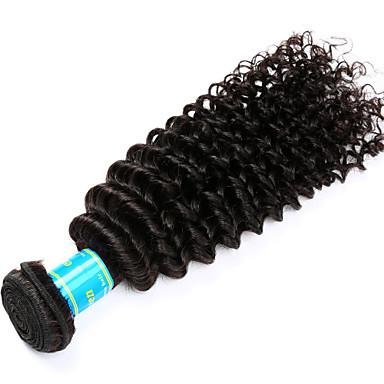 Echthaar Indisches Haar Menschenhaar spinnt Kinky Curly Haarverlängerungen 1 Stück Schwarz