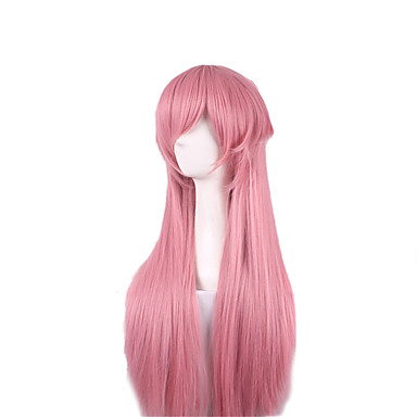Synthetic Wig Straight Pink Layered Haircut / Asymmetrical Haircut Synthetic Hair Natural Hairline Pink Wig Women's Long Capless