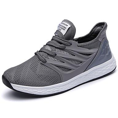 Homens sapatos Couro Ecológico Primavera/Outono Conforto Tênis Corrida Cadarço para Casual Preto Cinzento