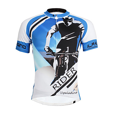 ILPALADINO Men's Short Sleeve Cycling Jersey Bike Jersey Top Quick Dry Ultraviolet Resistant Reflective Strips Sports Polyester Coolmax® Eco-friendly Polyester Mountain Bike MTB Road Bike Cycling