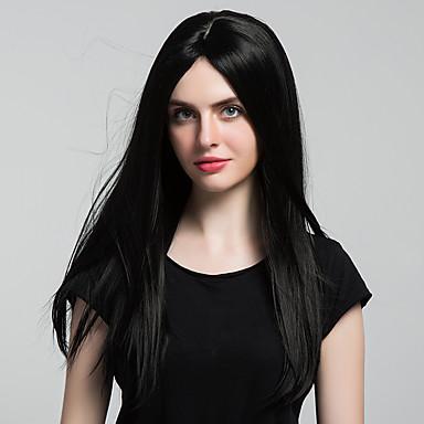 Synteettiset hiukset Peruukit Suora Suojuksettomat Luonnollinen peruukki Pitkä Musta