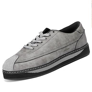 Herrn Schuhe PU Frühling Herbst Komfort Sneakers Schnürsenkel für Draussen Schwarz Grau Hellbraun
