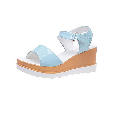 Naiset Kengät Canvas Kevät Comfort Sandaalit Käyttötarkoitus Kausaliteetti Valkoinen Musta Sininen