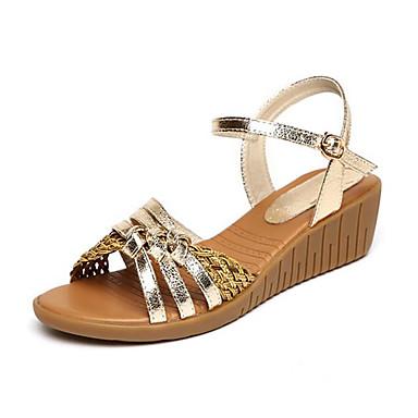 Dámské Boty Kůže Léto S páskem Sandály Klínový podpatek Pro Ležérní Zlatá Stříbrná
