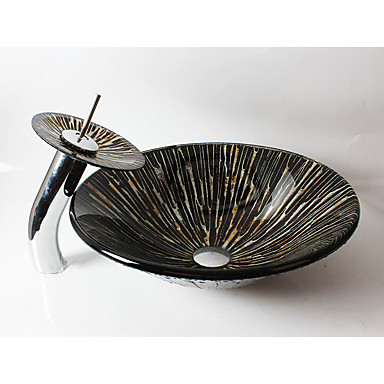 Moderna Redondo material dissipador é Vidro Temperado Pia de Banheiro