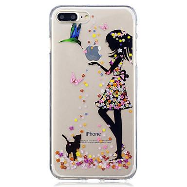 Etui Käyttötarkoitus Apple iPhone X iPhone 8 IMD Läpinäkyvä Kuvio Takakuori Kissa Sexy Lady Pehmeä TPU varten iPhone X iPhone 8 Plus