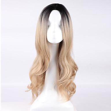 Damen Synthetische Perücken Kappenlos Lang Blond Natürliche Perücke Kostüm Perücken
