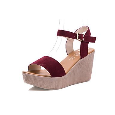 Mulheres Sapatos Couro Verão Conforto Sandálias Salto Plataforma Peep Toe para Casual Preto Fúcsia Café Vermelho Azul