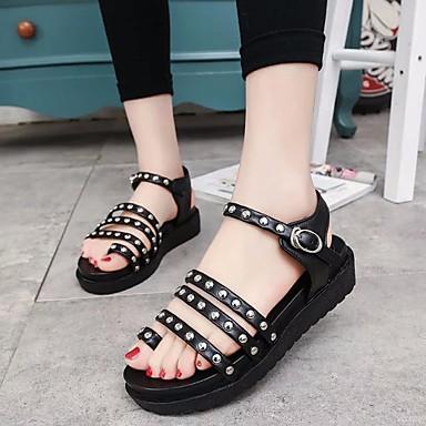 Naiset Kengät PU Kesä Comfort Sandaalit Käyttötarkoitus Kausaliteetti Musta Hopea