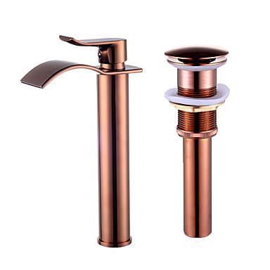 Faucet Set - Cascata Rosa Dourado Conjunto Central Monocomando e Uma Abertura