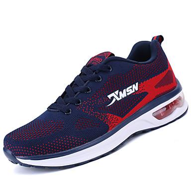 Homens sapatos Couro Ecológico Primavera Outono Tênis Caminhada Combinação para Preto Vermelho Azul Real
