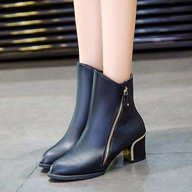 Damen Stiefel Komfort PU Frühling Normal Komfort Stöckelabsatz Schwarz Rot Flach