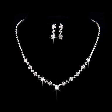 Women's AAA Cubic Zirconia Jewelry Set - Cubic Zirconia, Silver Simple Style, Fashion, Elegant Include Drop Earrings / Choker Necklace Silver For Wedding / Party / Anniversary / Engagement