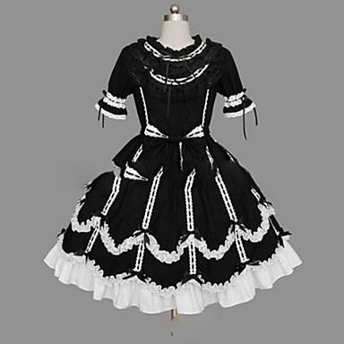 Gothic Lolita Princeznovské Punk Dámské Dívčí Šaty Cosplay Černá Košíček Krátký rukáv Krátký / Mini