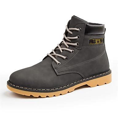 Miesten kengät Nahka Kevät Syksy Comfort Bootsit Kävely varten ulko- Musta Harmaa Ruskea