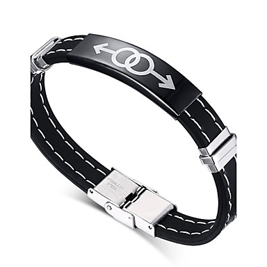 Herrn ID Armband - Freundschaft Erste Schmuck Film-Schmuck Hip-Hop Modisch Rock Kreisförmig Kreisform Schwarz Armbänder Für Weihnachts