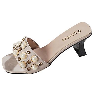 Mulheres Sapatos Couro Ecológico Verão Conforto Sandálias Salto Baixo para Ao ar livre Preto Bege