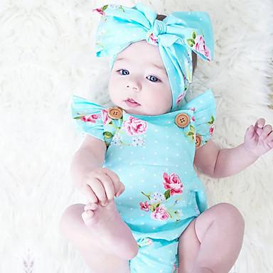 Baby Mädchen Blumig Modisch / Vintage Druck Ärmellos Baumwolle Body