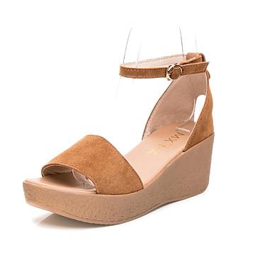 Mulheres Sapatos Couro Verão Conforto Sandálias Salto Plataforma Ponta Redonda para Casual Escritório e Carreira Preto Fúcsia Café