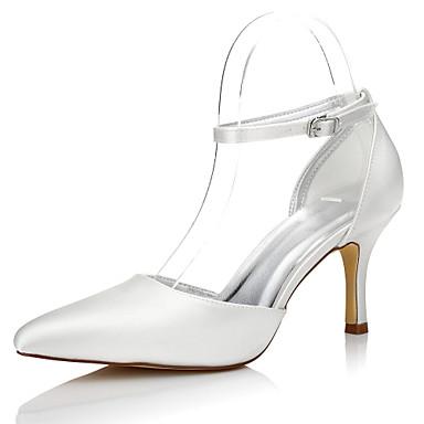 Mulheres Sapatos Seda Inverno Outono Conforto Sapatos De Casamento Salto Agulha Dedo Apontado Presilha para Social Festas & Noite Ivory