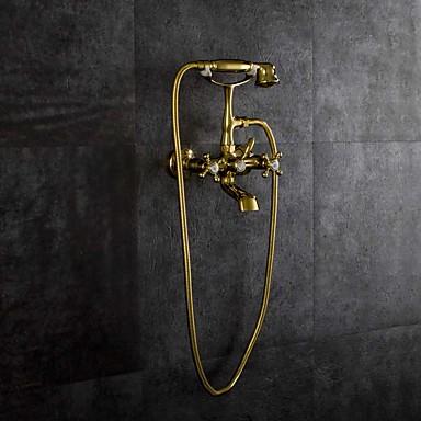 Torneira de Banheira - Artistíco Estilo vintage Dourado Banheira e Chuveiro Válvula Cerâmica