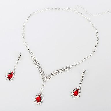 Dámské Synthetic Ruby Kubický zirkon Zirkon Srdce Šperky Set 1 x náhrdelník 1 x pár náušnic - Luxus Elegantní Módní Kulatý Kapka Srdce