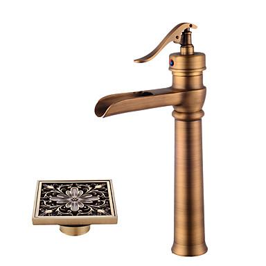 Wasserhahn-Set - Vorspülung / Wasserfall / Verbreitete Antikes Kupfer Mittellage Einhand Ein Loch / Messing