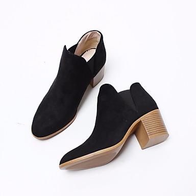 Naiset Bootsit Comfort Kevät PU Kausaliteetti Musta Ruskea Khaki 2-2,75in