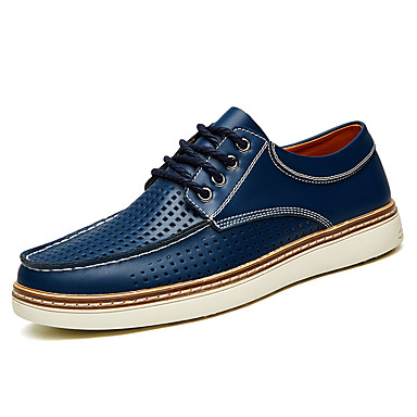 Homens sapatos Pele Poliester Couro Verão Conforto Tênis Cadarço para Casual Escritório e Carreira Festas & Noite Preto Marron Azul