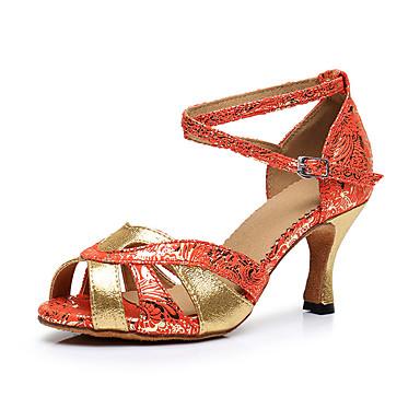 Mulheres Sapatos de Dança Latina Courino Sandália / Têni Presilha Salto Robusto Personalizável Sapatos de Dança Preto / Laranja / Couro