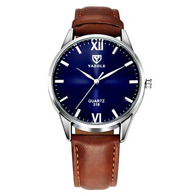 preiswerte Klassische Uhren-YAZOLE Herrn Uhr Armbanduhr Leder Schwarz / Braun Armbanduhren für den Alltag Analog Klassisch Freizeit Schwarz Braun / Ein Jahr