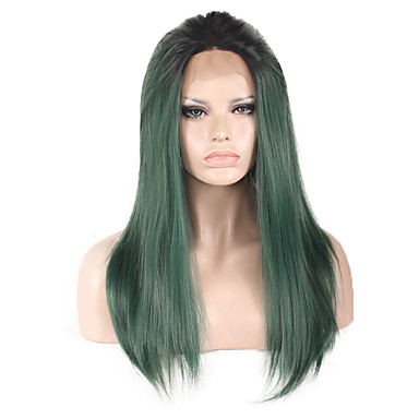 Naisten Synteettiset pitsireunan peruukit Pitkä Suora Vihreä Luonnollinen peruukki Rooliasu peruukki