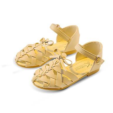 Dívčí Obuv Koženka Léto Podzim Pohodlné Boty pro malé družičky Sandály Chůze Mašle Pro Šaty Černá Béžová Hnědá