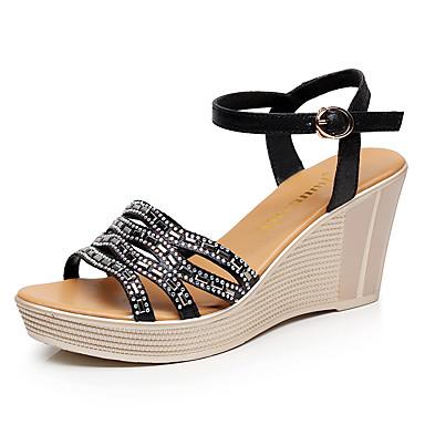 Mulheres Sapatos Microfibra Verão Conforto Sandálias Salto Plataforma Peep Toe Branco / Preto / Calcanhares